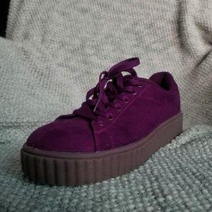 Maroon JustFab Platform Sneakers
